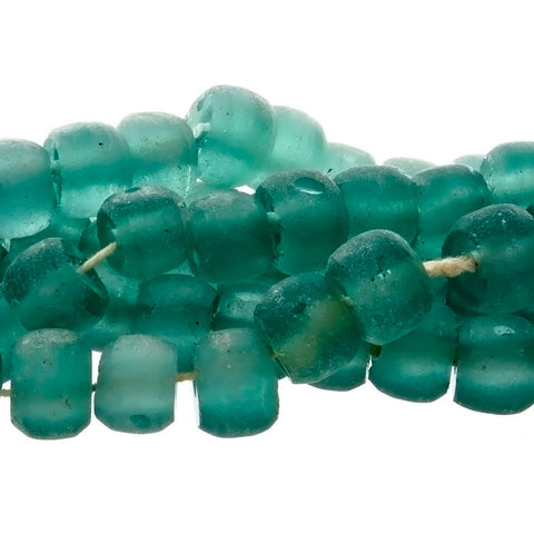 Aqua Blue Rondelle Frosted Recycled Bali Glass Bead 14 x 12 mm