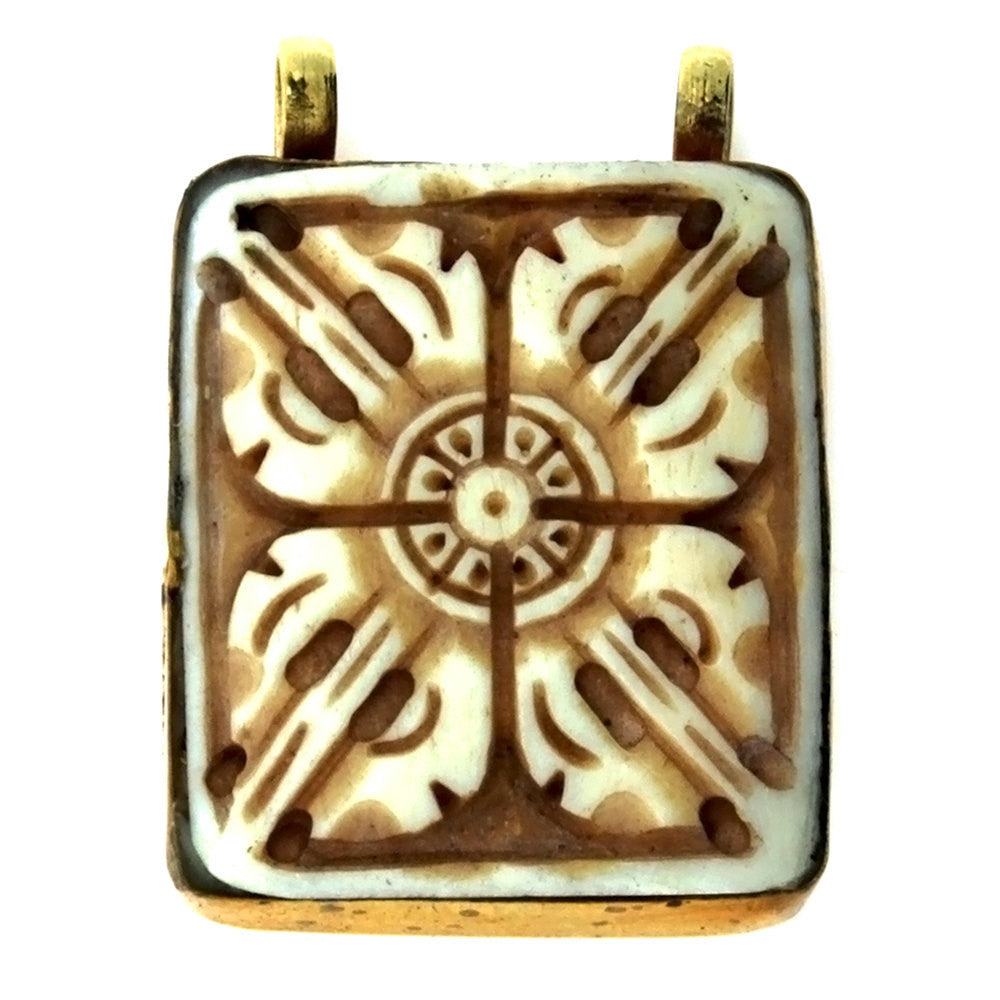 NATURAL BONE SYMBOL 35 X 41 MM PENDANT