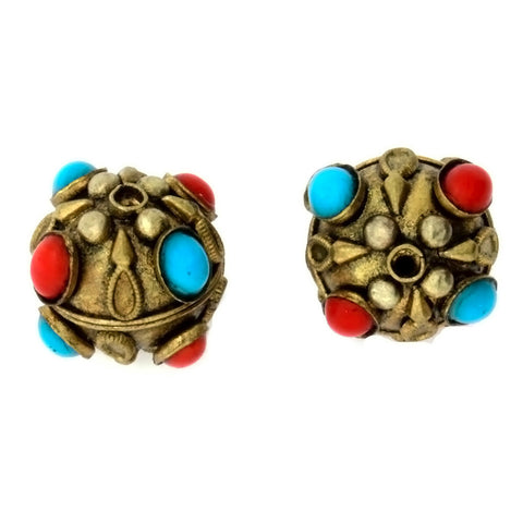 INDIA ROUND 22 MM GOLD W/ CORAL & TURQUOISE BEAD (2)