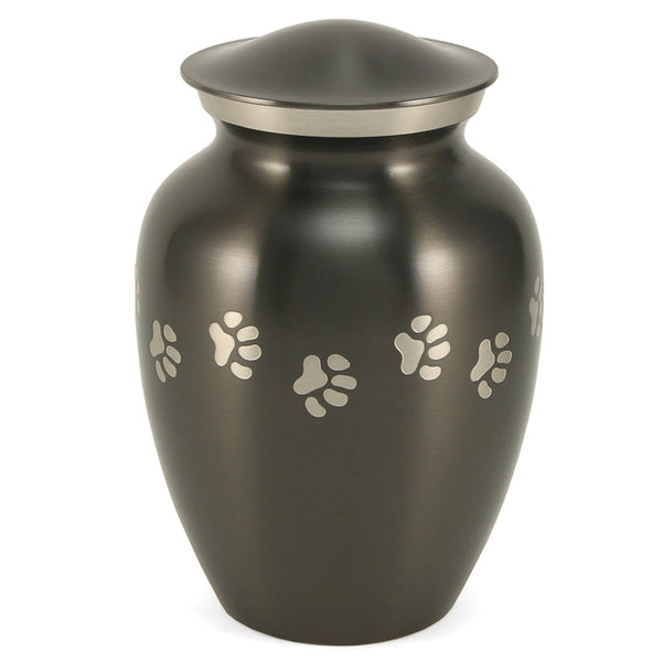 Classic Metal Pet Urn with Paws | Slate