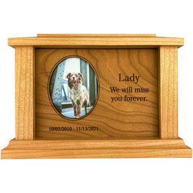 Side Oval Pet Urn | Cherry