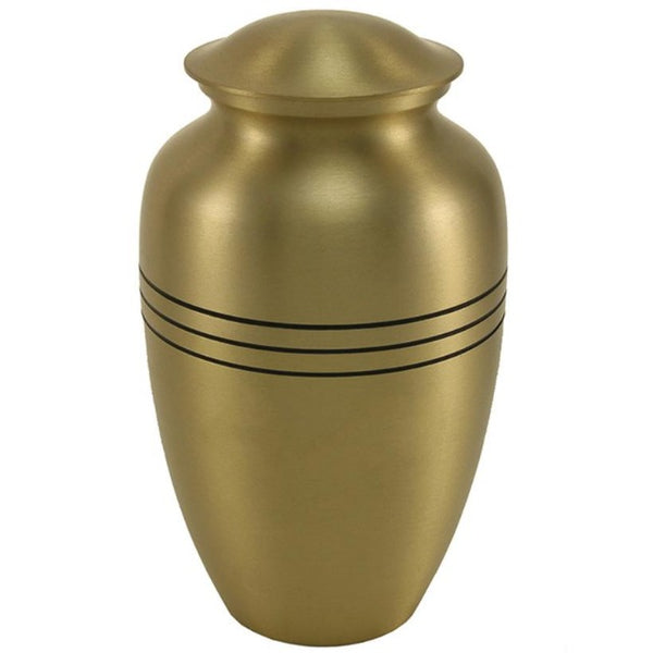 Classic Pet Urn with Lines | Brass