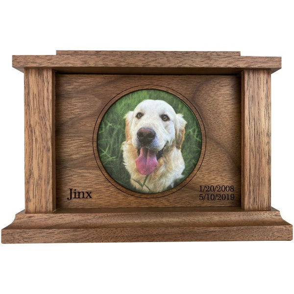 Circle Frame Pet Urn | Walnut