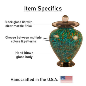 Amato Glass Pet Urn | Aegean