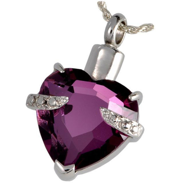 Imperial Purple Glass Heart Cremation Jewelry