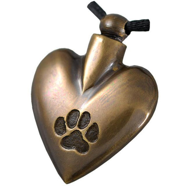 Paw Print Heart Cremation Jewelry