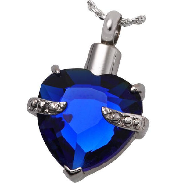 Blue Glass Heart Cremation Jewelry