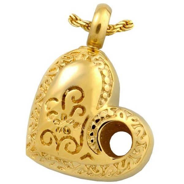 Cremation Jewelry 14K Gold-Plated Over Stainless Steel