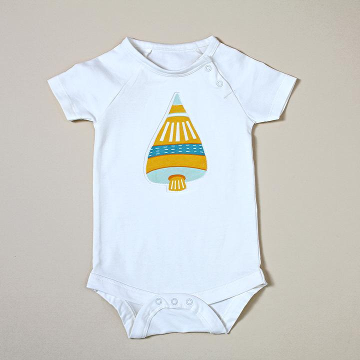Viverano - Short Sleeve Bodysuit with Space Shuttle Applique