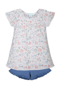 Feather Baby - Ruched Tunic Set ~ Caroline Floral on White