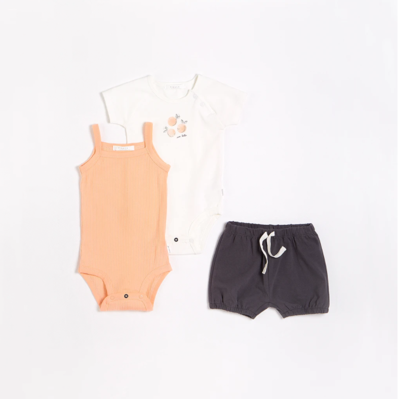 FIRSTS - Peaches Outfit Set with Organic Cotton (3 pcs.)