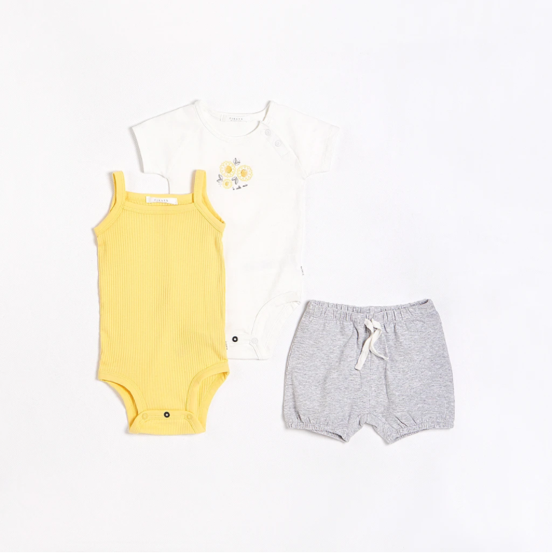 FIRSTS - Sunflowers Outfit Set with Organic Cotton (3 pcs.)