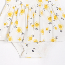 Load image into Gallery viewer, FIRSTS - Sunflowers Peplum Dress with Organic Cotton