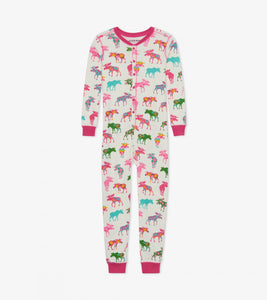 Little Blue House - Patterned Moose Kids Union Suit