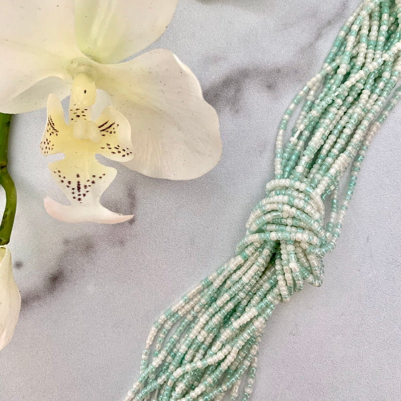 Waist bead two-toned aqua green + white prosperity