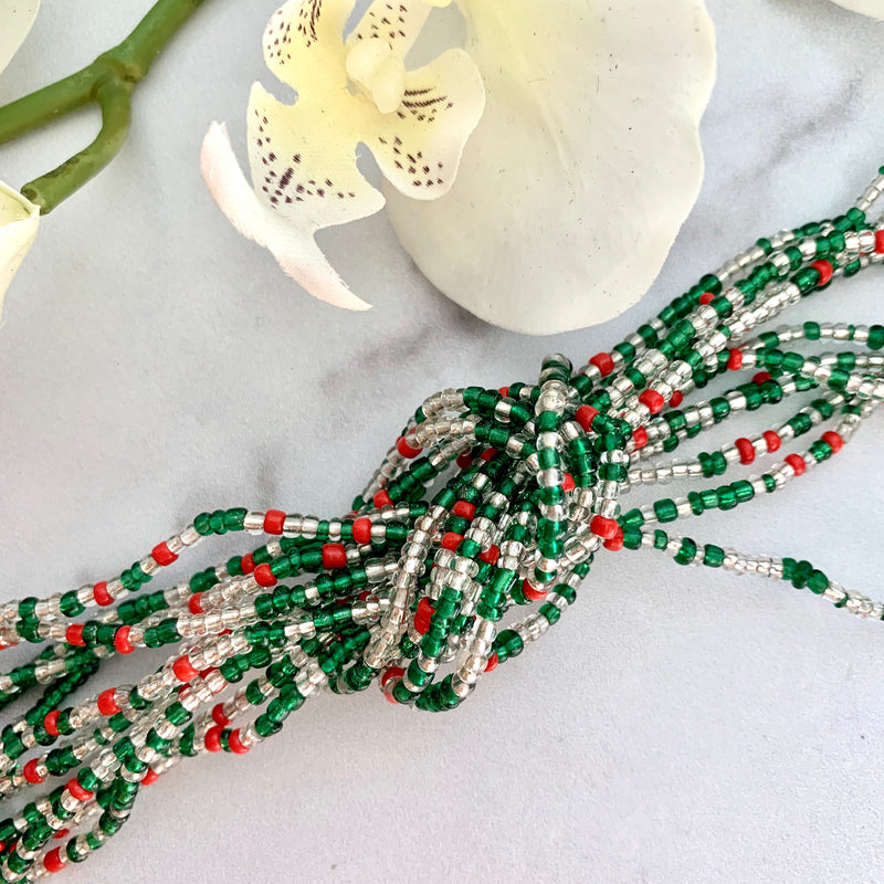 Waist Bead multi-colored deep green, red + clear