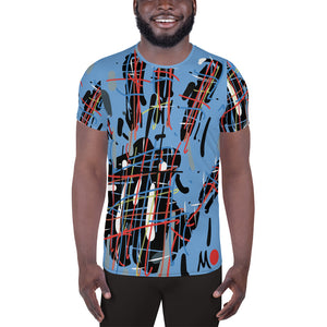 Blue Line All-Over Print Men's Athletic T-shirt