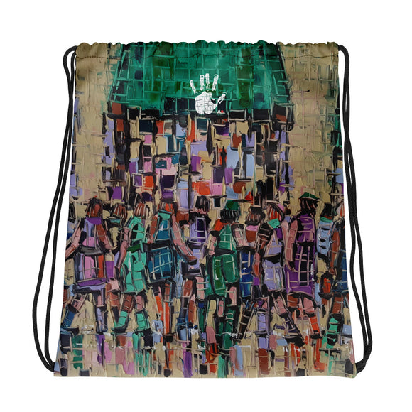 Cityscape drawstring bag