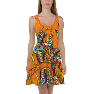 Happy Orange Skater Dress