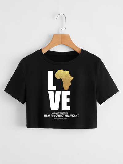 Love Africa Gold Map Crop Top