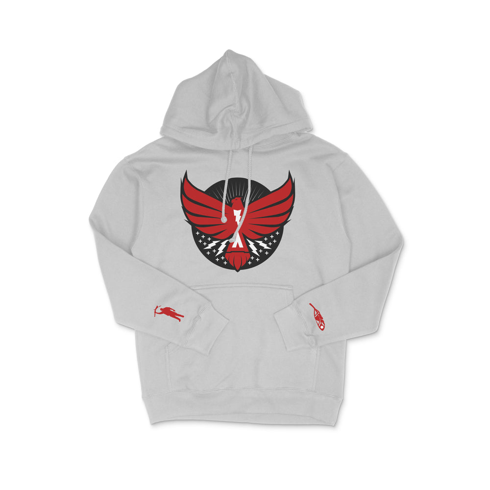 The Thunderbird Hoodie Grey w/Red