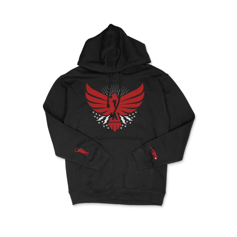 The Thunderbird Hoodie Black w/Red