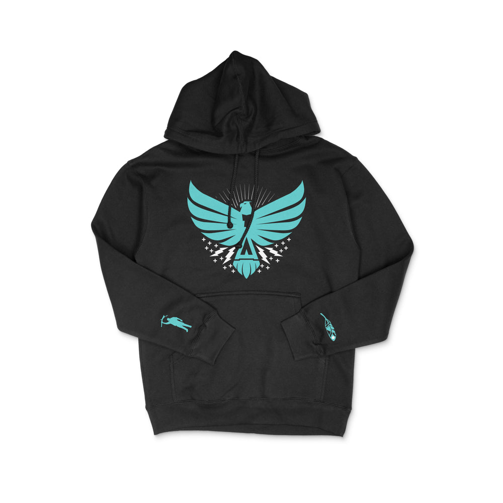 The Thunderbird Hoodie Black w/Turquoise