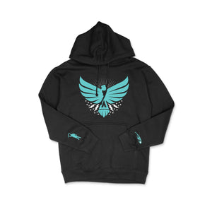 Load image into Gallery viewer, Thunderbird Hoodie Black w/Turquoise