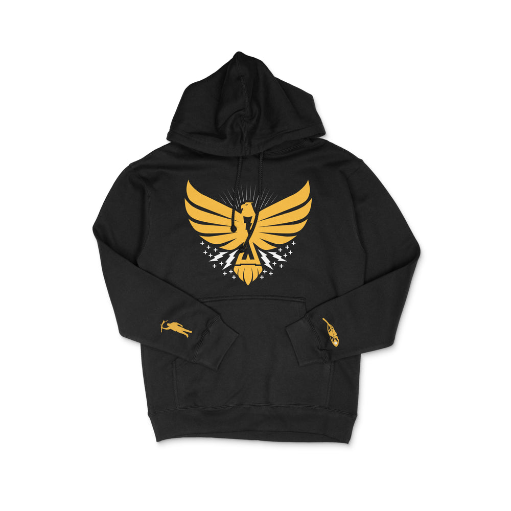 Load image into Gallery viewer, Thunderbird Hoodie Black w/Yellow