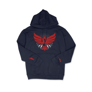 Load image into Gallery viewer, Thunderbird Midweight Hoodie Dark Navy w/Red