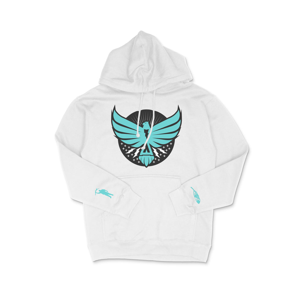 Load image into Gallery viewer, Thunderbird Heavyweight Hoodie White w/Turquoise