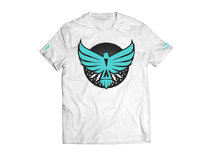 Load image into Gallery viewer, Thunderbird White w/ Turquoise Adult Tee