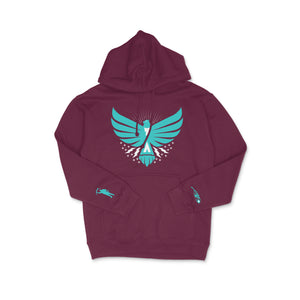 Load image into Gallery viewer, Thunderbird Midweight Hoodie Burgundy w/Turquoise