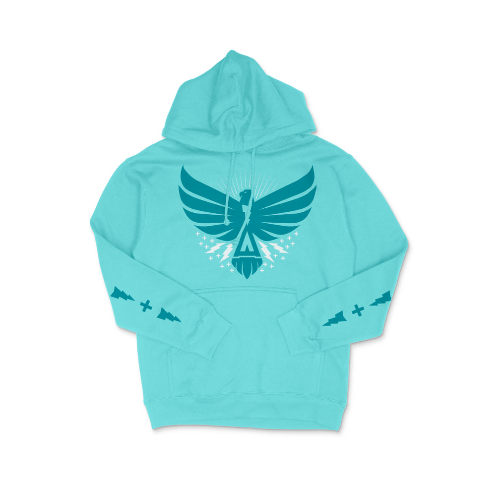 Thunderbird Heavyweight Hoodie Teal w/ Turquoise Limited Spring Collection