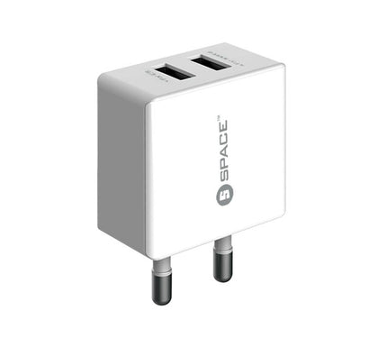 Dual Port USB 2.4A Wall Charger (w Lightning Cable)