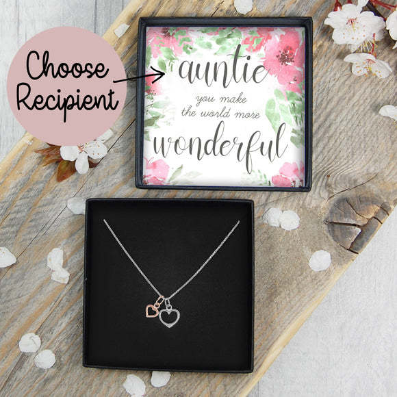 Double Heart Necklace - Wonderful CHOOSE RECIPIENT