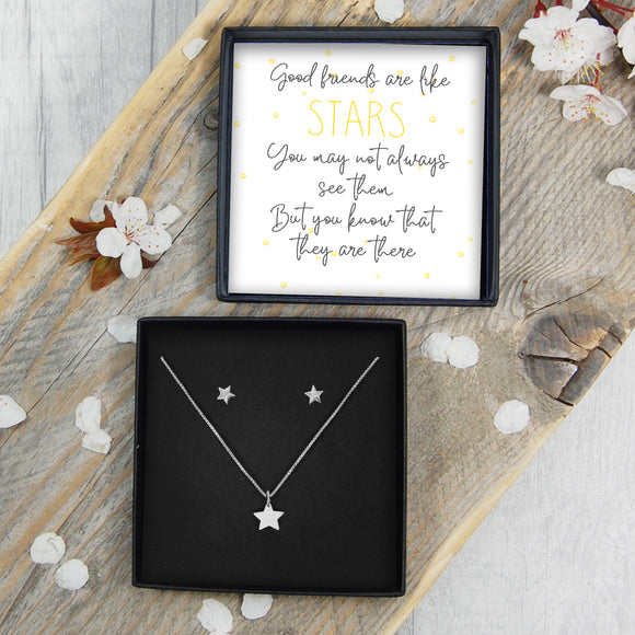 Star Necklace & Earrings - Good Friends Are Like Stars