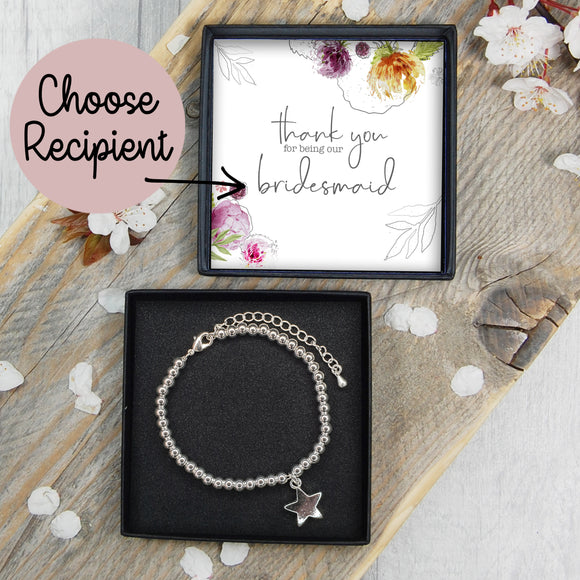 Star Bracelet - Thank You For Being Our Bridesmaid / Flower Girl / Maid Of Honour