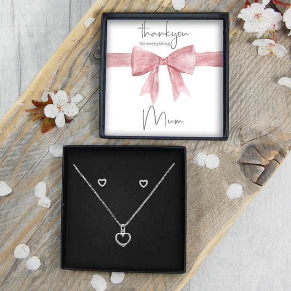 Heart Necklace & Earrings - Mum Thank You