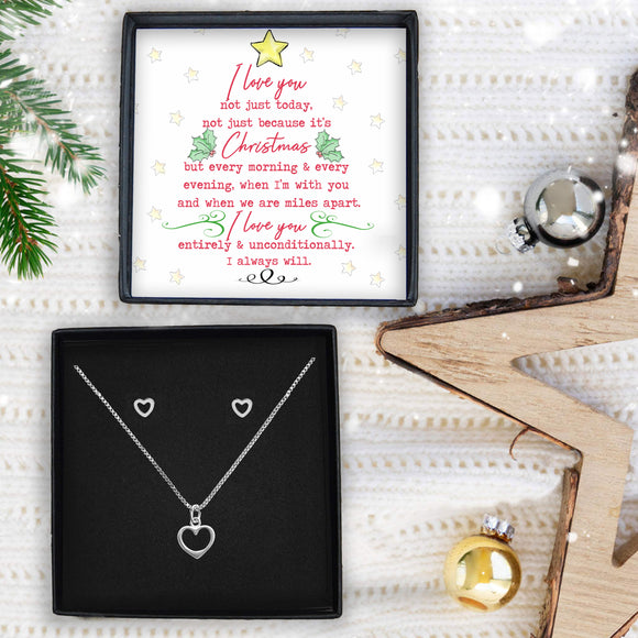 Heart Necklace & Earrings - Love At Christmas