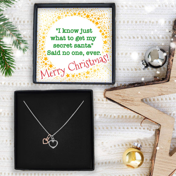 Double Heart Necklace - Secret Santa I Know Just What To Get
