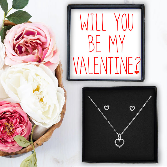 Heart Necklace & Earrings - Will you be my Valentine?