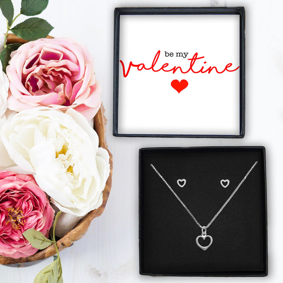 Heart Necklace & Earrings - Be my Valentine