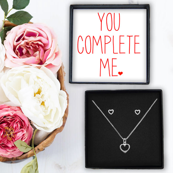 Heart Necklace & Earrings - You Complete Me
