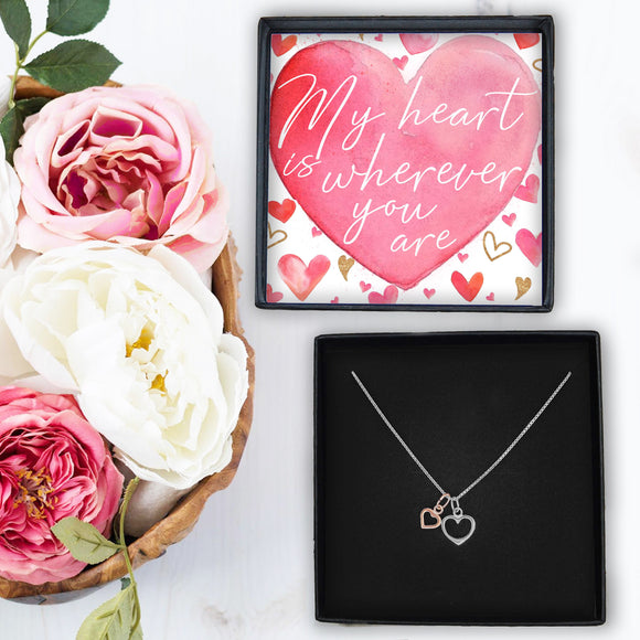Double Heart Necklace - My Heart Is Wherever You Are