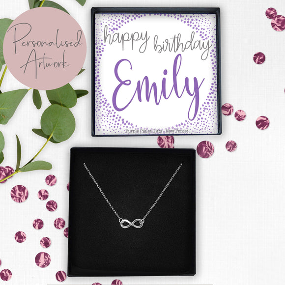 Infinity Necklace - Happy Birthday ......ANY NAME