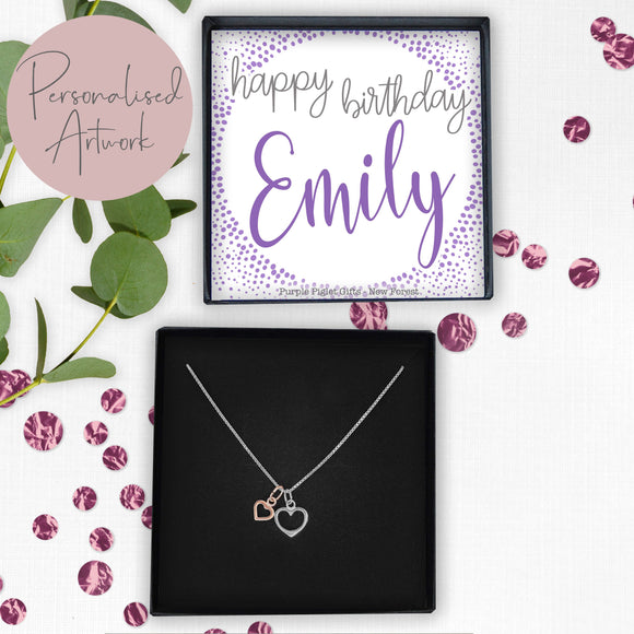 Double Heart Necklace - Happy Birthday...... ANY NAME