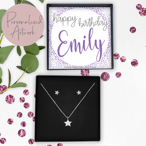 Star Necklace & Earring Set - Happy Birthday...... ANY NAME