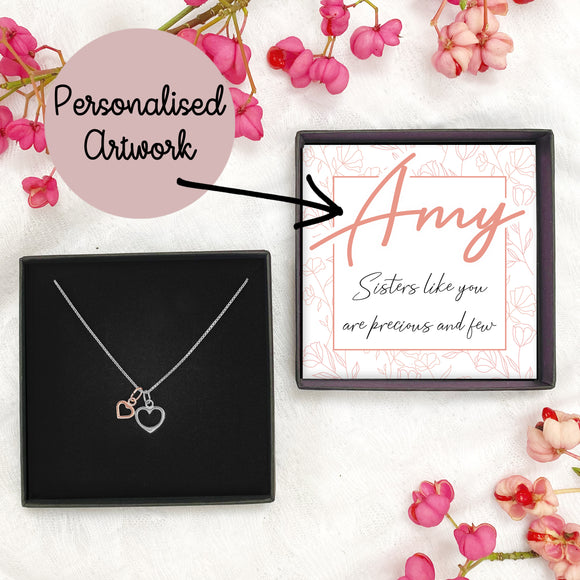 Double Heart Necklace - PERSONALISED Artwork Precious & Few