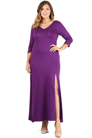 Plus Size Solid Mermaid V-neck 3/4 Sleeves Maxi Dress With Side Slit